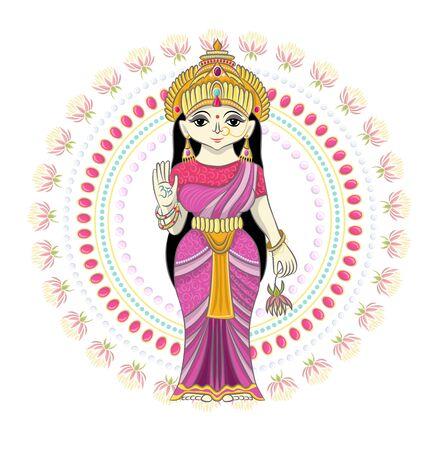 Indian god vector hinduism godhead of goddess and godlike idol Ganesha in India illustration set of asian godly religion isolated on white background 矢量图像