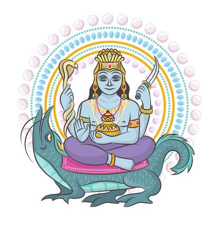 Indian god vector hinduism godhead of goddess and godlike idol Ganesha in India illustration set of asian godly religion isolated on white background Иллюстрация