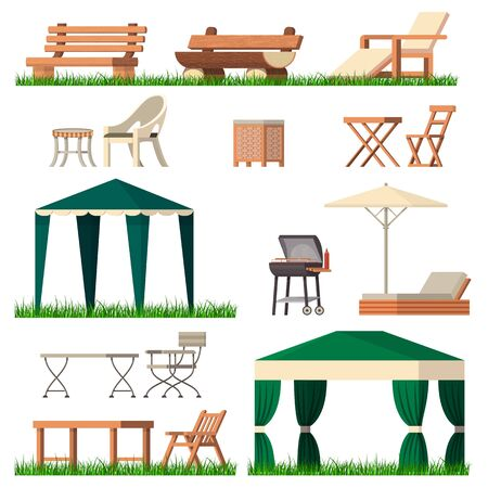 Garden furniture vector tent table chair seat on terrace design outdoor in summer backyard outside illustration gardening relaxation set of furnished chaise. lounge isolated on white background. Archivio Fotografico - 126051655