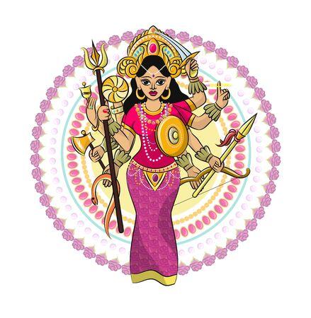 Indian god vector hinduism godhead of goddess and godlike idol Ganesha in India illustration set of asian godly religion isolated on white background Illustration
