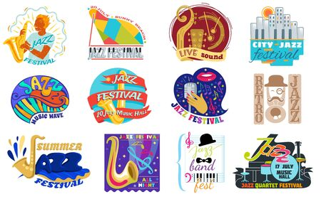 Jazz festival vector music concert  musical instrument   musician playing saxophone sound art badge festival performance emblem isolated on white background