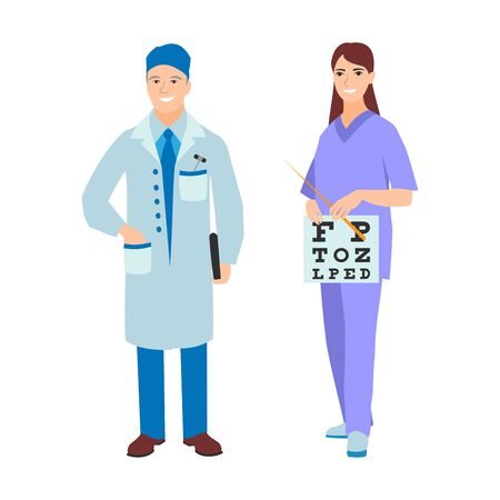 illustration of a man and woman in uniform coat. Flat style different doctors characters. Professional cartoon pediatrician medical human worker Reklamní fotografie