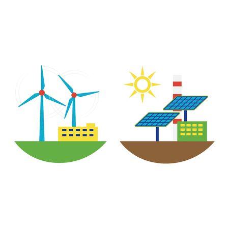 Alternative energy wind station illustration. Stock Photo