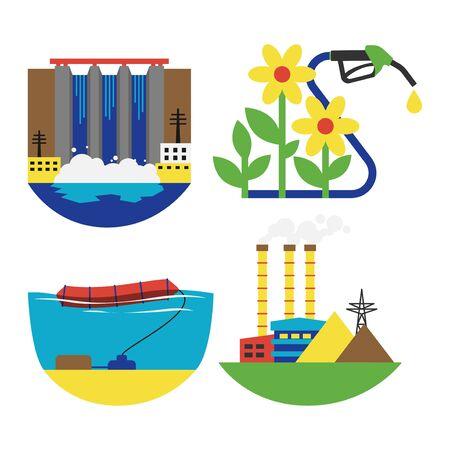 Alternative energy source set illustration.