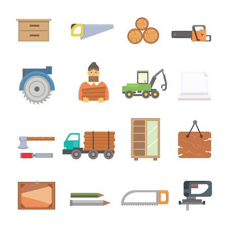 Timber industry occupation icons set in flat style. Lumberjack equipment collection illustration. Construction and woodworking carpentry equipment
