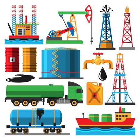 Set of oil industry production transportation extracting cartoon icons illustration. Energy processing platform. Petroleum industry technology design