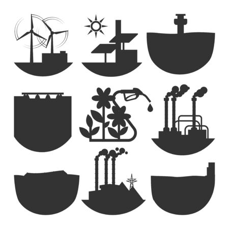 Alternative energy source set illustration.