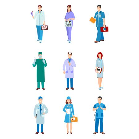 illustration of a man and woman in blue coat. Flat style different doctors characters. Professional cartoon pediatrician medical human worker