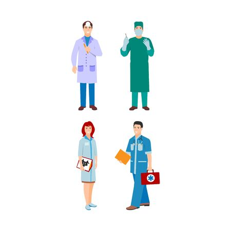 illustration of a man and woman in blue coat. Flat style different doctors characters. Professional cartoon pediatrician medical human worker. Stockfoto