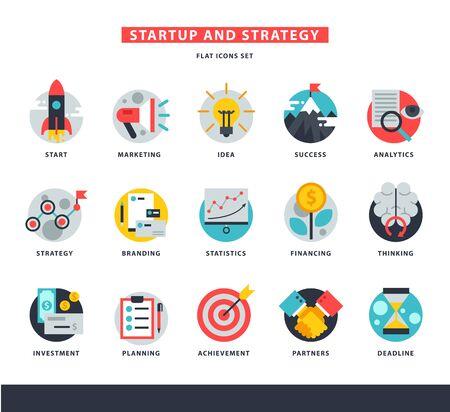 Startup business icons start up strategy marketing idea innovation or businessplanning illustration of rocket or light bulb isolated on white background