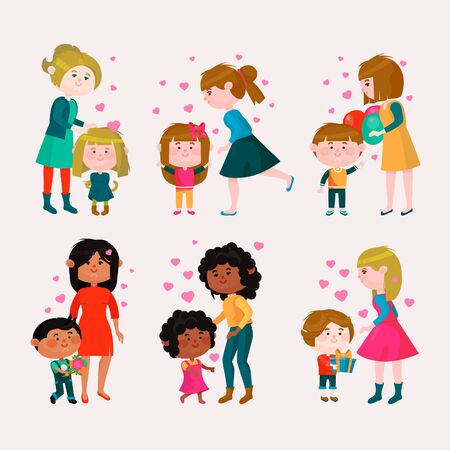 Valentines day loving family mothers day mom and kids valentine lovely heart girl or boy kissing and hugging child with gift flowers and balloons illustration isolated on white background