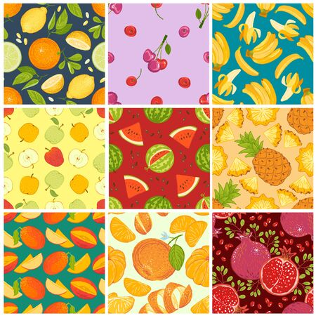 Fruit pattern seamless fruity background and fruitful exotic wallpaper with fresh slices of watermelon orange apples and tropical fruits illustration backdrop set