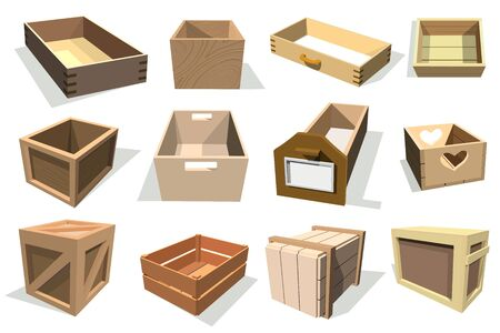 Box package wooden empty drawers and packed boxes or packaging crates with wood crated containers for delivery or shipping set illustration isolated on white background