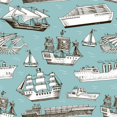 Ship boat vessel sailboat cruise liner or passenger steamship and powerful speedboat or motorboat submarine and yacht set illustration seamless pattern background Stock Photo
