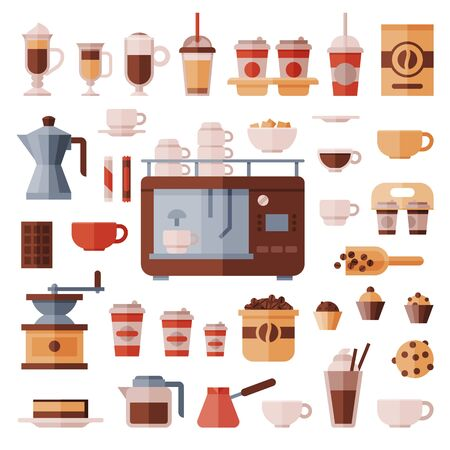 Coffee set coffeemachine with coffeecups for hot espresso or cappuccino and beverages with caffeine in plastic cups takeaway in coffeeshop illustration isolated on white background
