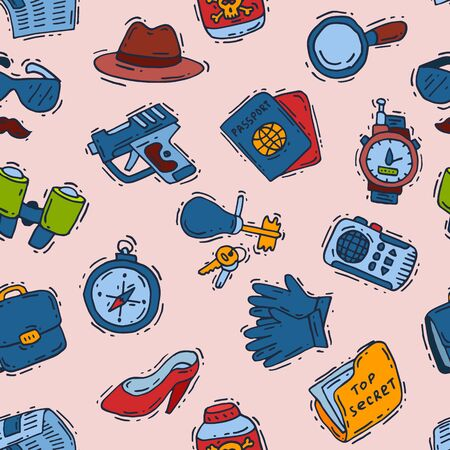 Spy icons cartoon detective set mafia agent binoculars or spyglass for spying or secret investigation illustration seamless pattern background Stock Illustration - 126530397