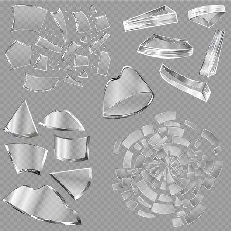 Broken glass sharp pieces of window and realistic shattered glassware or shattering debris of breaking mirror isolated on background illustration backdrop