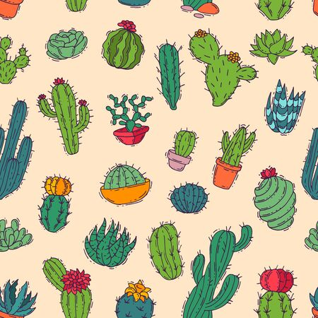 Cactus home nature handmade illustration of green cactus in bow plant cactaceous tree with flower different sorts and design home plant seamless pattern background Stock Photo