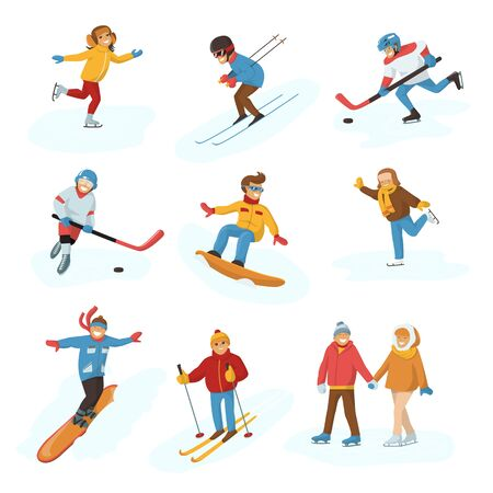 Winter sport activity people games cartoon boys and girls fun cold sportsmen wintertime happy illustration isolated vacation people holiday sport activity ski, sky, hockey and snowboard