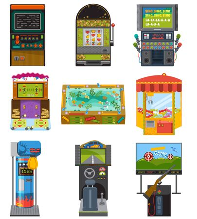 Game machine arcade gambling games hunting fishing boxing and dancing where gambler or gamer play in aming computer machinery illustration isolated on white background Stock fotó
