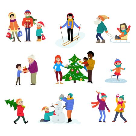 Winter holiday cartoon family characters kids play in wintertime with xmas tree and gifts for celebrating Christmas family illustration isolated vacation people in sport activity ski skate