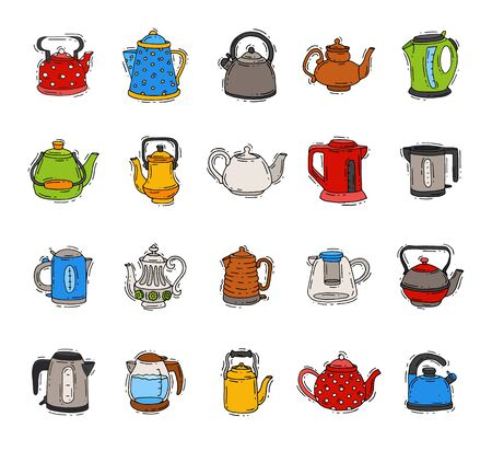 Teapot and kettle teakettle to drink tea on teatime and boiled coffee beverage in electric boiler in kitchen illustration kitchenware set isolated on white background Stock Photo
