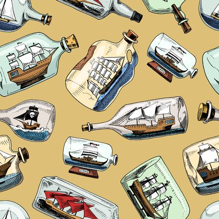 Ship in bottle boat in miniature gifted sail souvenir in glass sailboat with cork or shipping in flask isolated on the background seamless pattern background Stock fotó