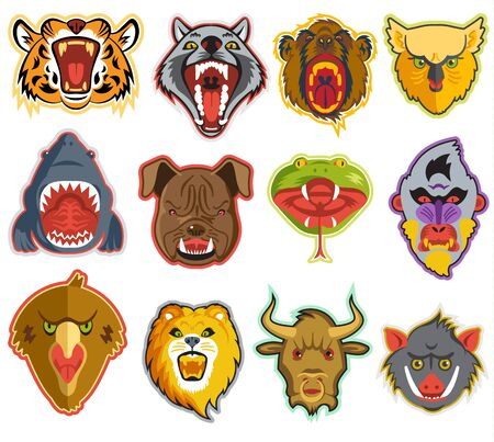 Animals portrait heads with open mouth of roaring animals angry lion bear and aggressive wolf illustration set of animalistic beast with teeth isolated on white background