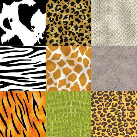Animal skin pattern seamless animalistic skinny textured background of wild skinning natural fur illustration wildlife backdrop set Foto de archivo - 126530560