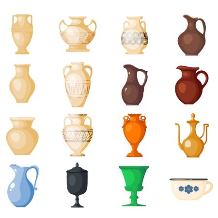 Amphora amphoric ancient greek vases and symbols of antiquity and Greece illustration set isolated on white background Stock Photo