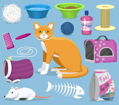 Cat toys pets accessories for pussycats care or playing kitten bowl and animal grooming tools kitty brush illustration feline set isolated on background Stockfoto