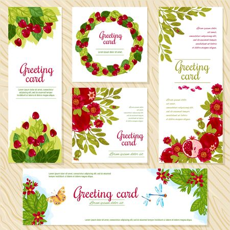Floral Greeting Card template for flower shops or anniversary invitation wedding party cards. Vector beautiful oriental floral pattern and bright ornament. Different flowers and flowers, cherry banners