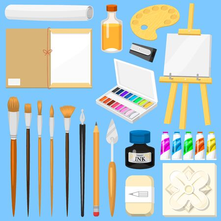 Artist tools watercolor with paintbrushes palette and color paints on canvas for artwork in art studio illustration artistic painting set isolated on background