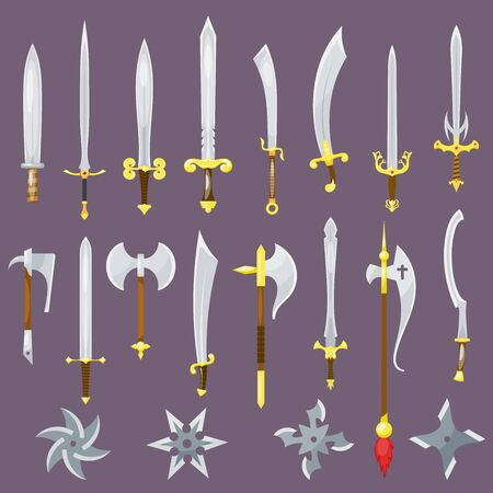 Sword medieval weapon of knight with sharp blade and pirates knife illustration broadsword set isolated on background Reklamní fotografie