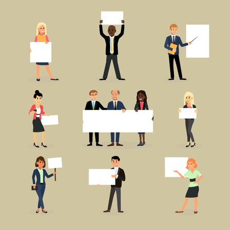 Businessman holding banner business woman character holds white banner or empty poster illustration set of team standing with placard isolated on background Reklamní fotografie
