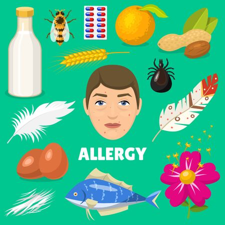 Allergy allergen food and allergic milk egg peanut and fish illustration of allergenicity set face of character with rash skin isolated on background