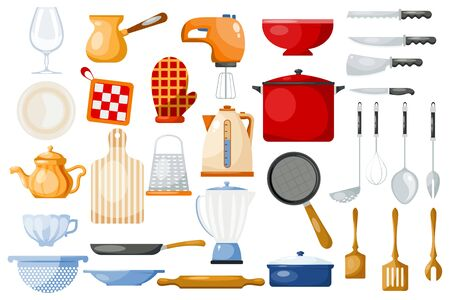 Kitchenware cookware for cooking and kitchen utensils or cutlery for kitchener illustration tableware in kitchenette set isolated on white background Stock Photo