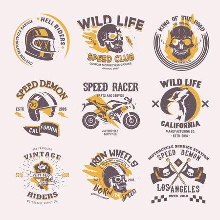 Biker  rider on motorcycle or bike and speed motorcyclist racer on  motor emblem illustration racing set isolated on white background Reklamní fotografie