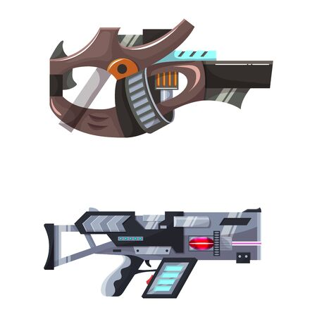 Weapon vector space gun blaster laser gun with futuristic handgun and fantastic raygun of aliens in space illustration set of child cartoon pistols isolated on white background
