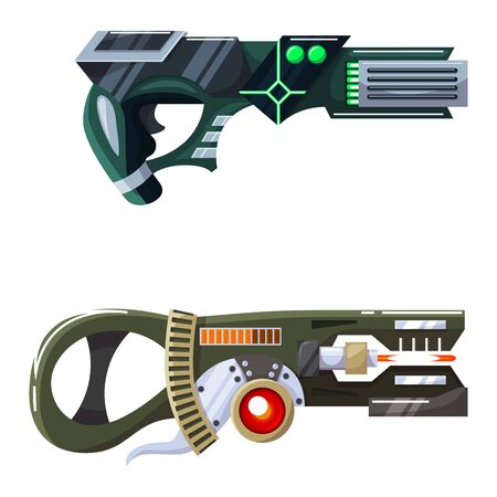Weapon vector space gun blaster laser gun with futuristic handgun and fantastic raygun of aliens in space illustration set of child cartoon pistols isolated on white background