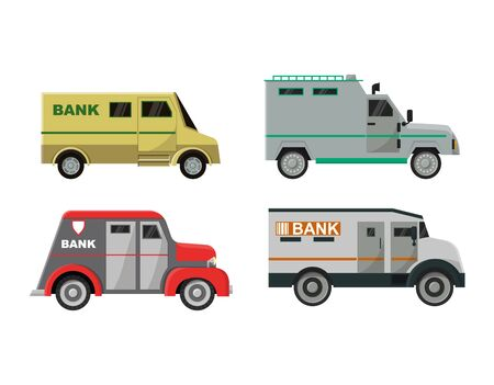 Armored vehicle vector bank cash van transport car illustration armor transportation set of truck with money security people character man in bulletproof isolated on white background