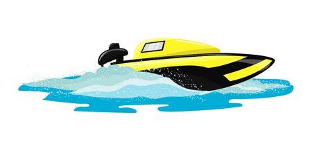 Barca vettore velocità motoscafo yacht che viaggiano nell'insieme nautico dell'illustrazione dell'oceano delle vacanze estive sul trasporto di nave motoscafo motoscafo motorizzato dalle onde del mare, isolato su priorità bassa bianca. Vettoriali
