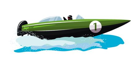 Barca vettore velocità motoscafo yacht che viaggiano nell'insieme nautico dell'illustrazione dell'oceano delle vacanze estive sul trasporto di nave motoscafo motoscafo motorizzato dalle onde del mare, isolato su priorità bassa bianca.