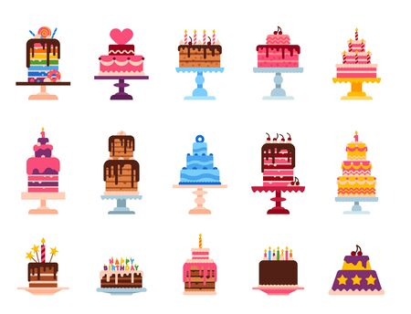 Wedding or Birthday pie cakes flat sweets dessert bakery ceremony delicious illustration. Фото со стока