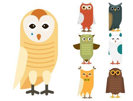 Cartoon owl bird cute character sleep sweet owlet illustration. Reklamní fotografie