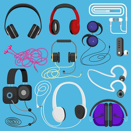 Headphones illustration headset to listen to music for dj and audio earphone devices illustration stereo headgear and earbuds set isolated on white background Reklamní fotografie