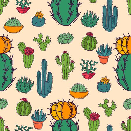 Cactus home nature illustration of green plant cactaceous tree with flower seamless pattern background