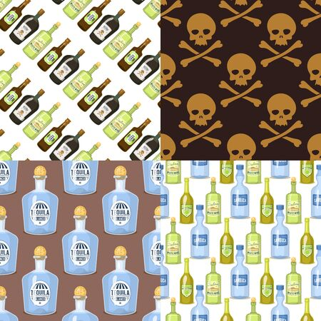 Alcohol strong drinks in bottles cartoon glasses seamless pattern background whiskey cognac brandy wine illustration