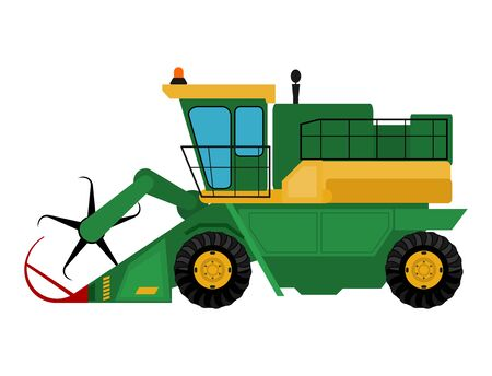 Agriculture industrial farm equipment machinery combine excavator illustration. Imagens