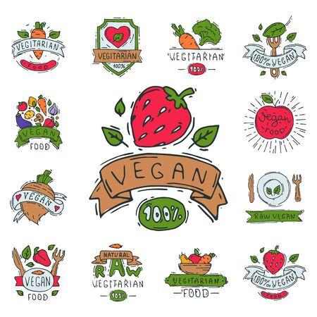 Hand drawn style of bio organic eco healthy food label vegan vegetable illustration vegetarian natural farm sign. Reklamní fotografie